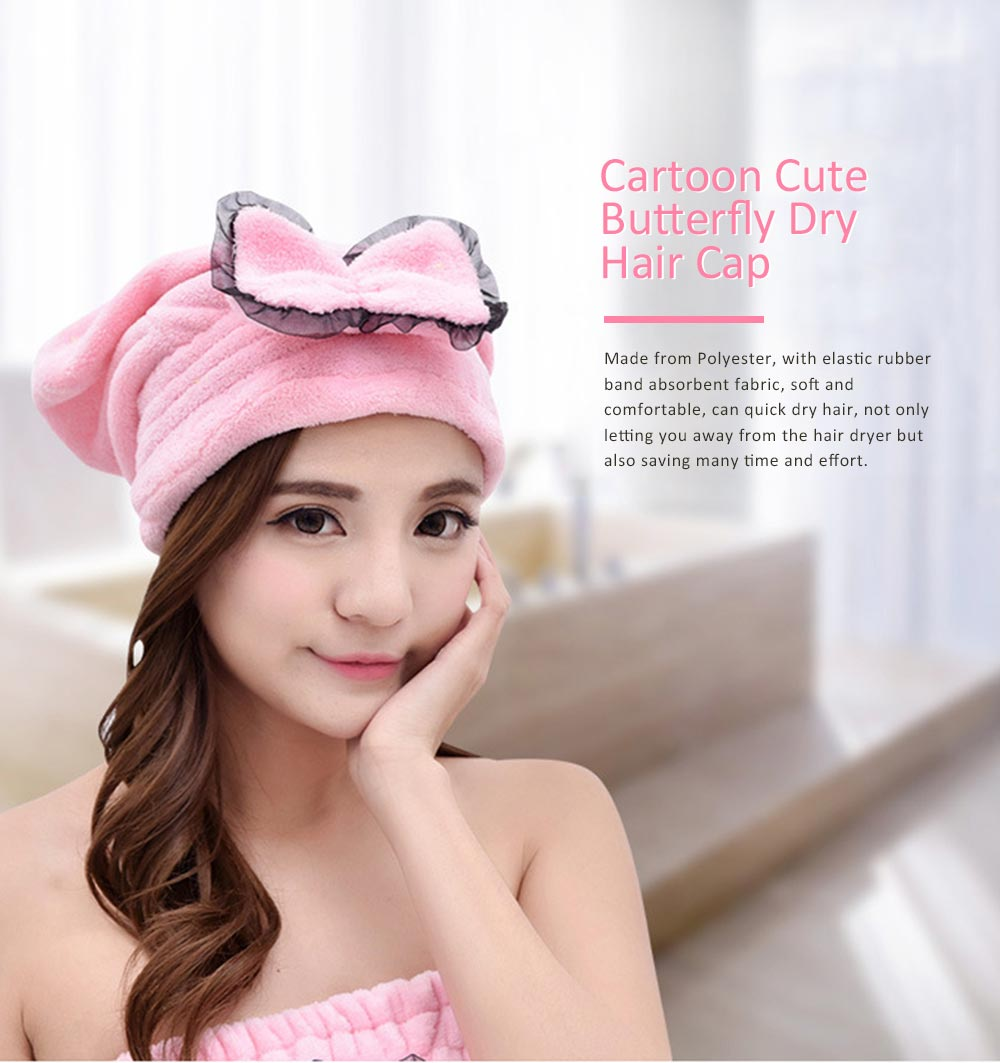 Cartoon Cute Bow Dry Hair Cap, Soft and Comfortable Coral Fleece Hair Cap 0