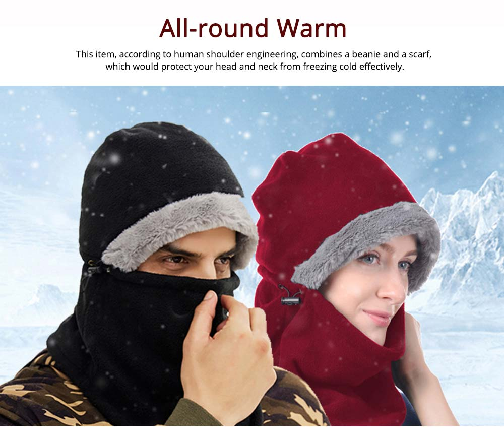 Women's Hooded Scarf & Hat, Warm Polyester Fibre Minimalist Unify Hat Scarf With Imitation Rabbit Fur Lining 4