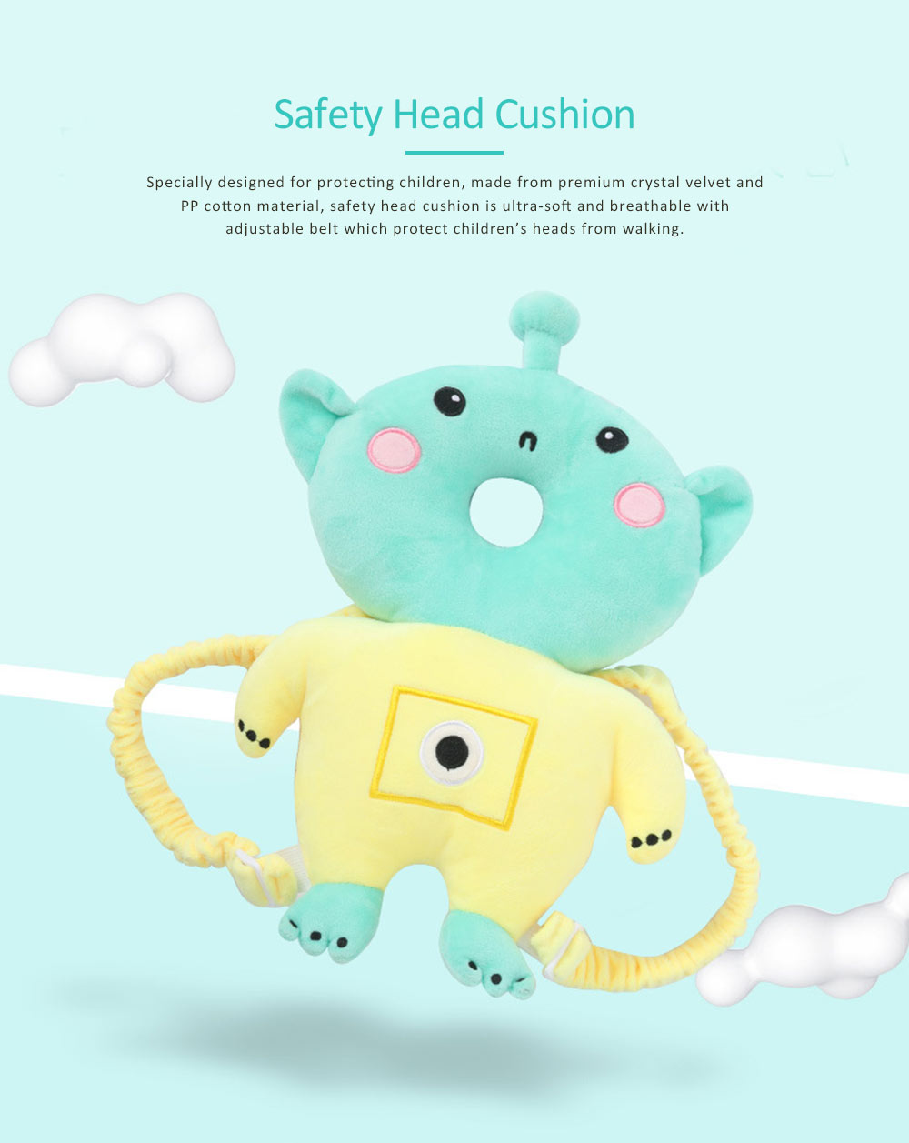 Head Pillow for Children, Safety Head Cushion with Adjustable Shoulder Strap, Suitable for Toddlers Age 5 Months-2 Ages 0