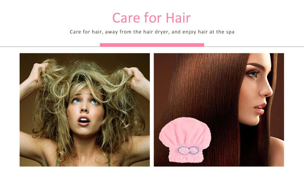 Coral Fleece Shower Cap, Water Velvet Cute Dry Hair Cap, Thickening Hooded Korean Bath Cap 4