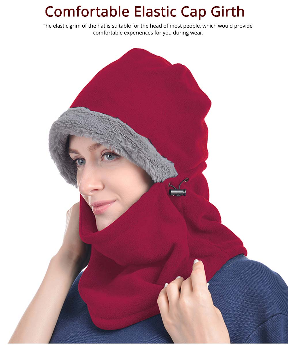 Women's Hooded Scarf & Hat, Warm Polyester Fibre Minimalist Unify Hat Scarf With Imitation Rabbit Fur Lining 2