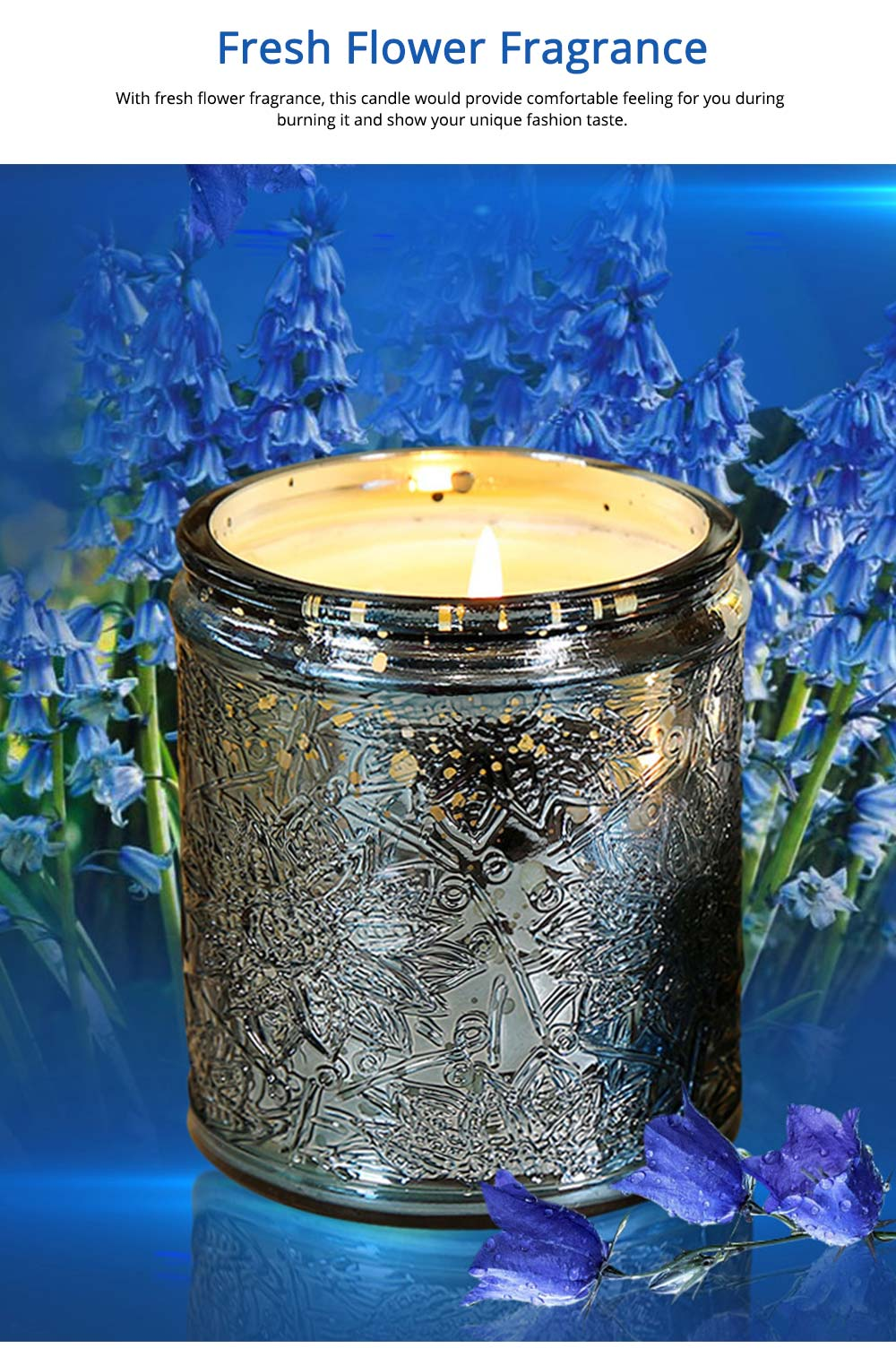 Essential Bluebell Fragrance Oil Smokeless Scented Candles, Romantic Home Decoration Soy Wax Candles Gift 11