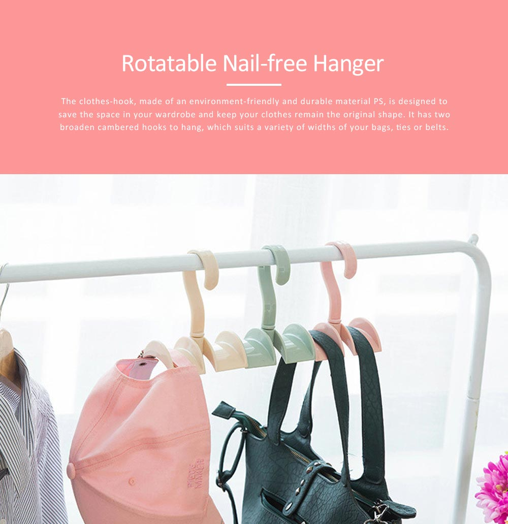Nail-free Clothes-hook, Rotatable PS Hook Innovative Hanger for Bags, Ties, Belts 0