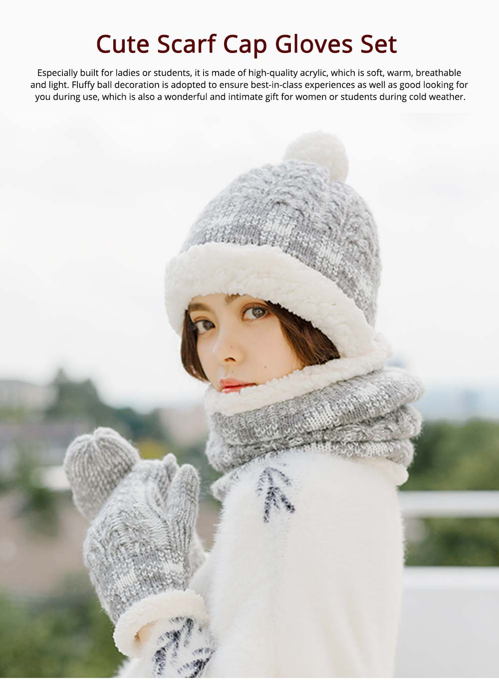 Cute Students Ladies Knitted Scarf Hat Gloves Suit with Plush Lining Thicken Warm Autumn Winter Warmer Set 0