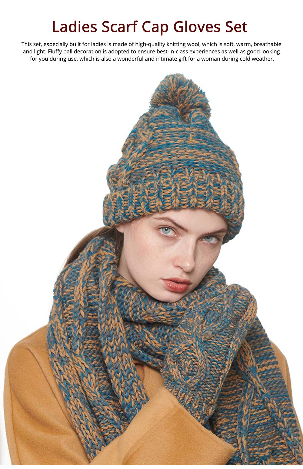 Winter Accessories for Ladies, Colorful Ladies Knitted Scarf Hat Gloves Suit with Wool Ball Decoration, Thicken Warm Autumn Winter 3 PCS Set  6