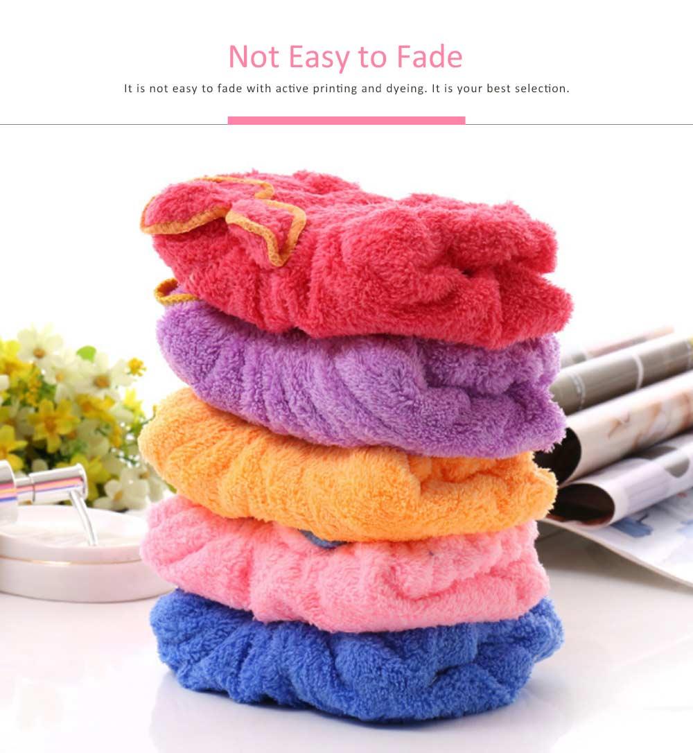 Coral Fleece Shower Cap, Water Velvet Cute Dry Hair Cap, Thickening Hooded Korean Bath Cap 2