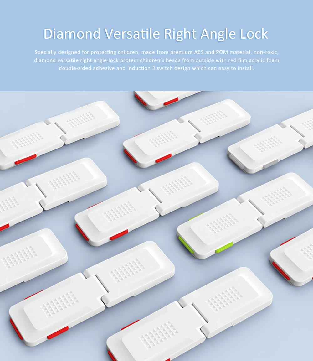 Baby Safety Adhesive Cabinet Locks, Diamond Versatile Right Angle Lock with Multiple use and Strong Adhesive 0