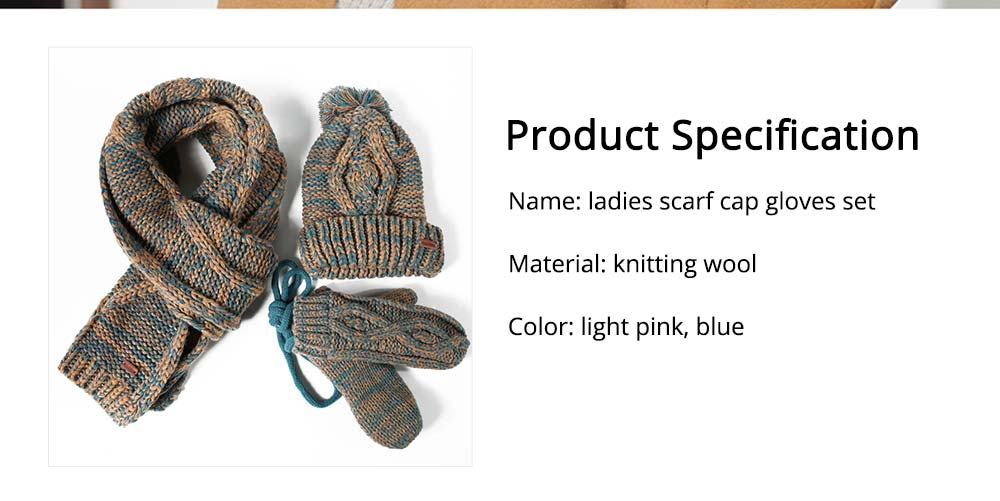 Winter Accessories for Ladies, Colorful Ladies Knitted Scarf Hat Gloves Suit with Wool Ball Decoration, Thicken Warm Autumn Winter 3 PCS Set  12