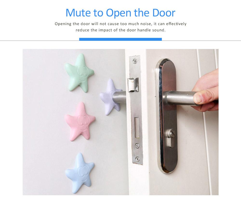 Silicone Door Stopper Wall Protector Adhesive, Star Cartoon Design Door Handle Bumper Guard for Door Knob 3