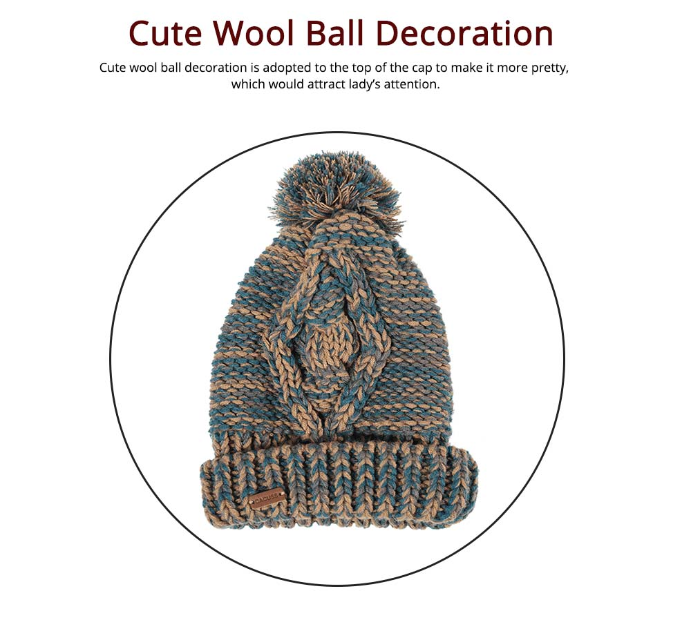 Winter Accessories for Ladies Colorful Knitted Scarf Hat Gloves Suit with Wool Ball Decoration Thicken Warm Autumn Winter 3 PCS Set  3