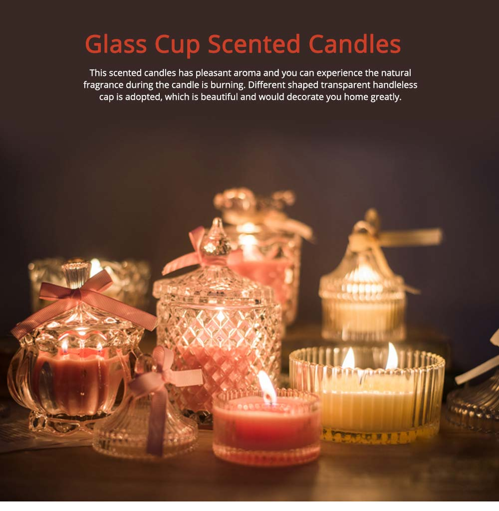 Flameless Candles with Transparent Glass Handleless Cap, Smokeless Soy Wax Scented Candles 7