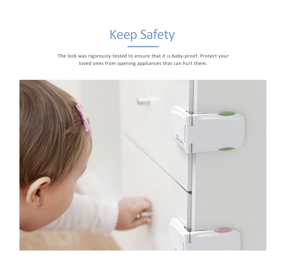 Baby Safety Adhesive Cabinet Locks, Diamond Versatile Right Angle Lock with Multiple use and Strong Adhesive 6