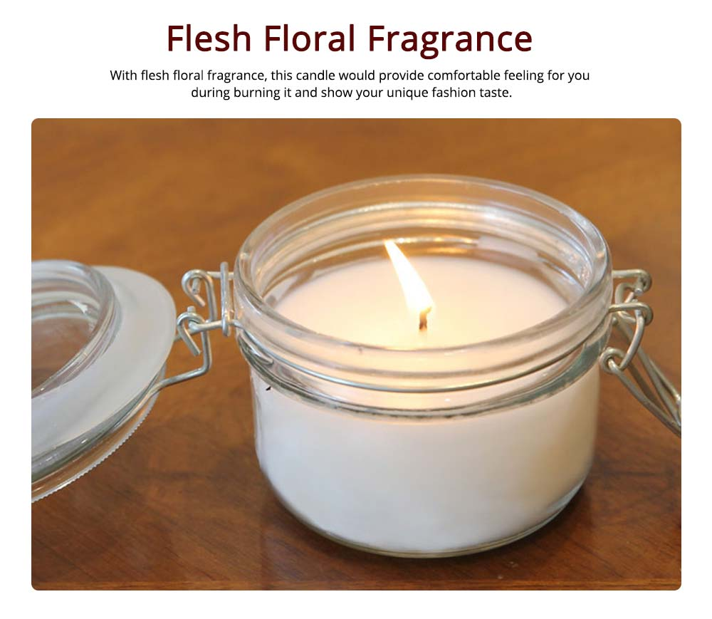 Natural Rosemary Fragrance White Scented Candles with Sealed Glass, Minimalist Floral Smokeless Home Decoration Candles 4