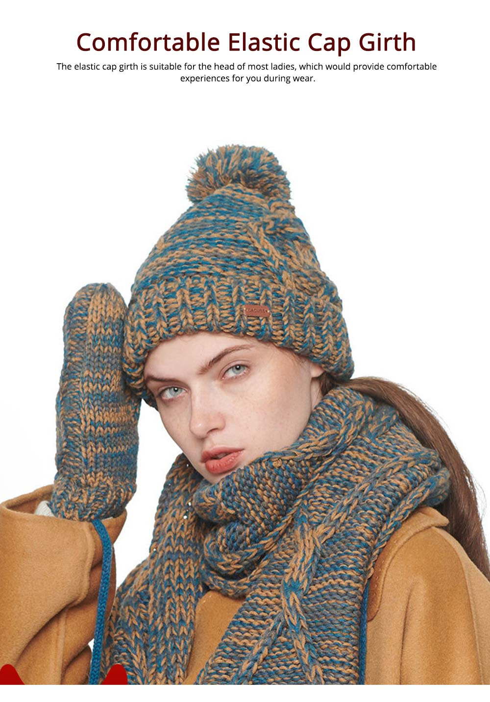 Winter Accessories for Ladies Colorful Knitted Scarf Hat Gloves Suit with Wool Ball Decoration Thicken Warm Autumn Winter 3 PCS Set  2