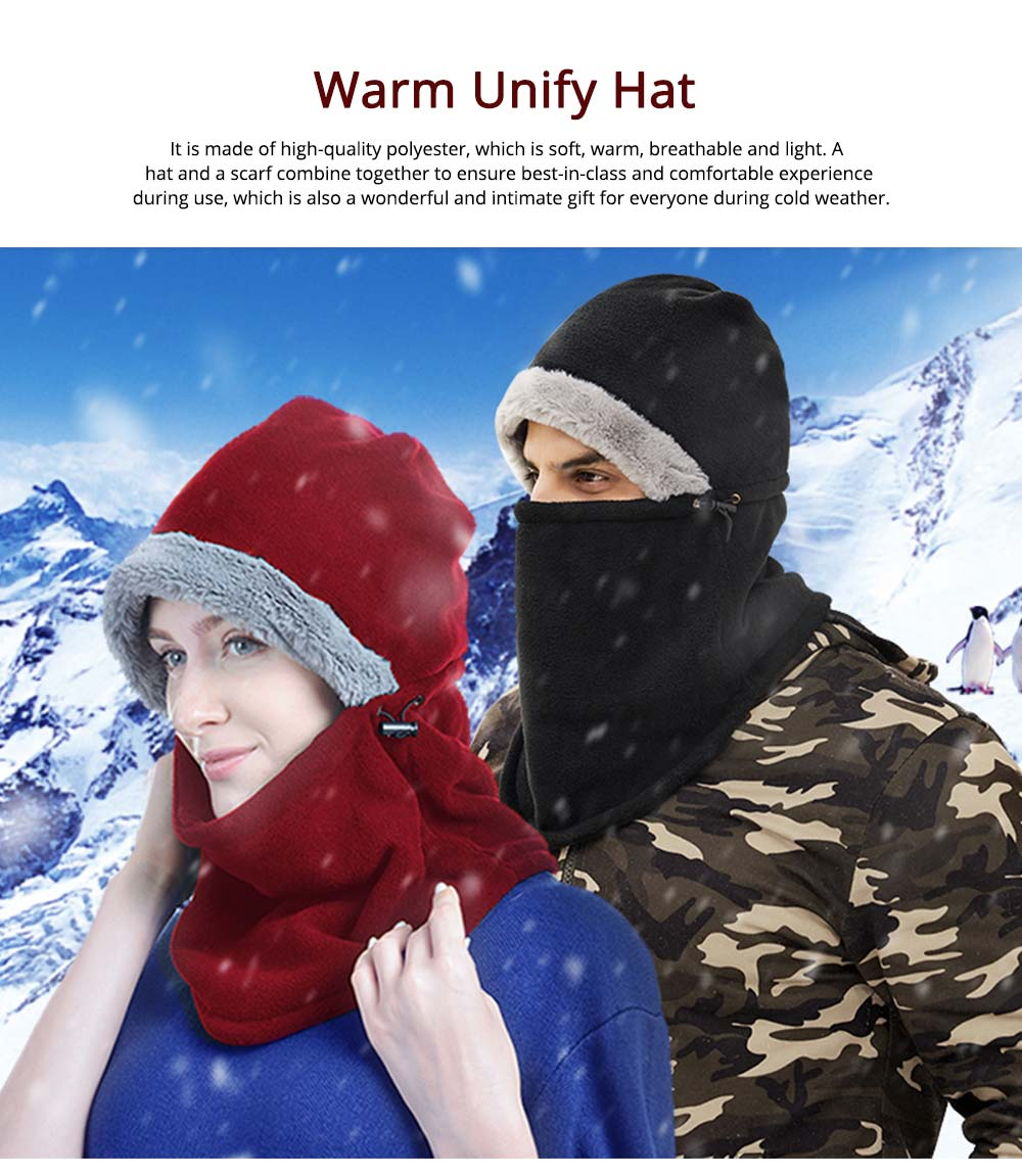 Women's Hooded Scarf & Hat, Warm Polyester Fibre Minimalist Unify Hat Scarf With Imitation Rabbit Fur Lining 0
