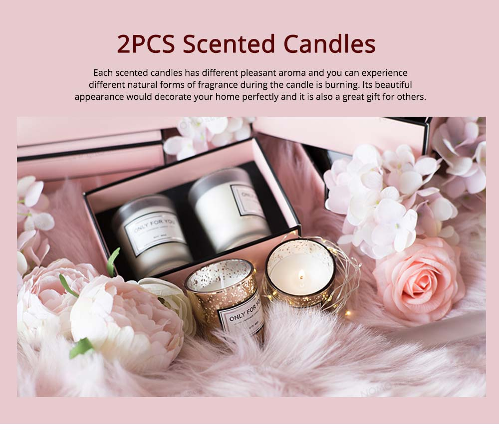 Smokeless Essential Oil Candles, 2 PCS Home Decoration Scented Candles Set Gift Box, Minimalist Romantic Ornaments 0