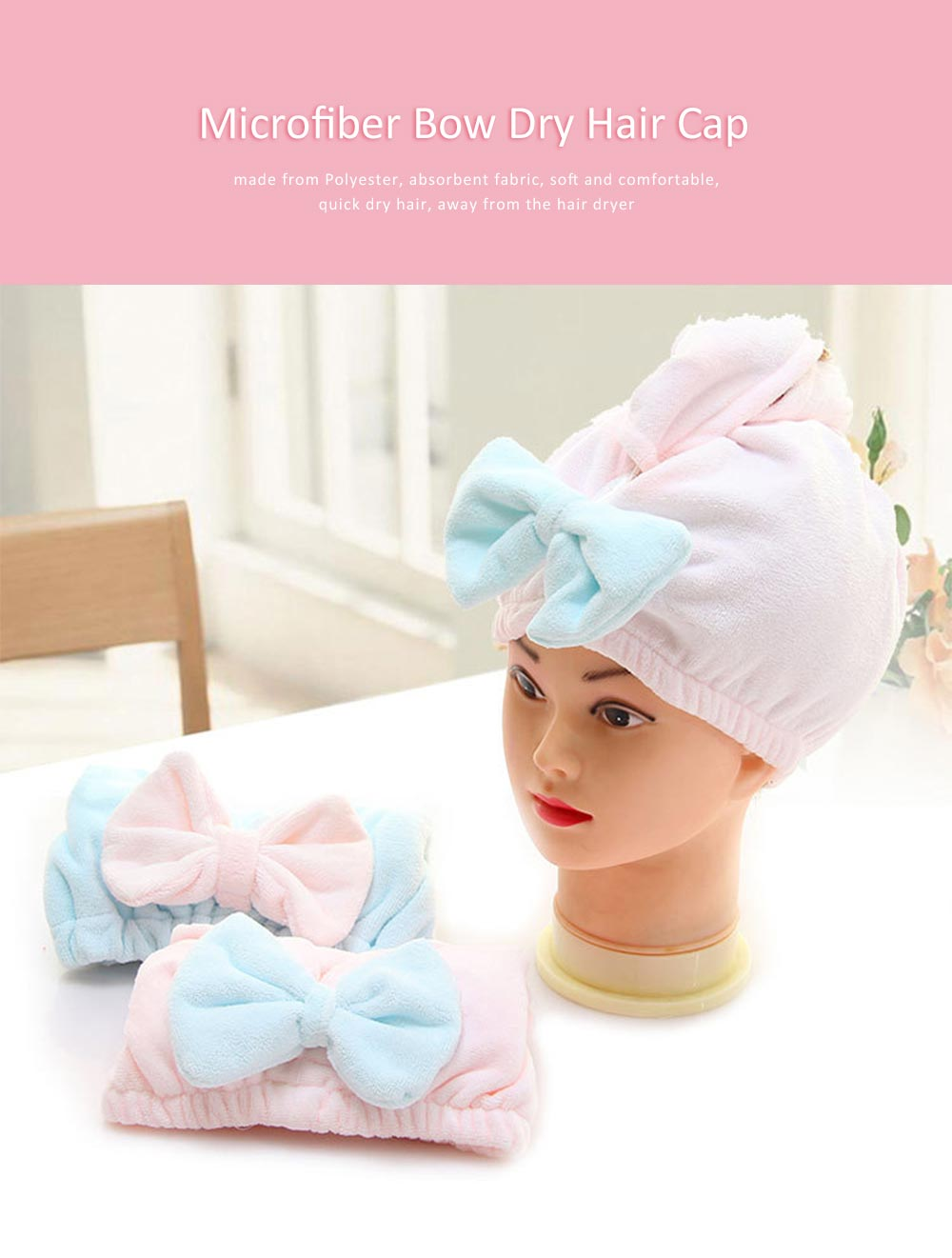 Dry Hair Cap Microfiber Bow, Soft Strong Absorbent Shower Cap 0