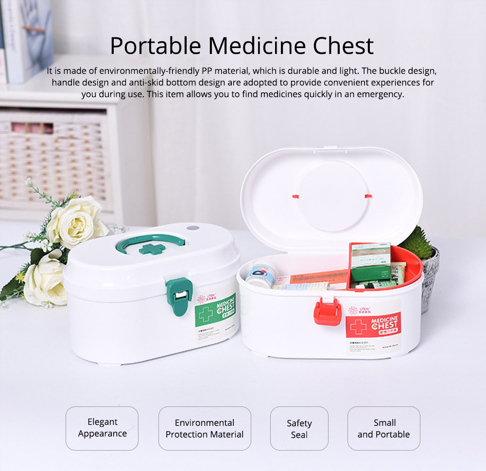 Household Medicine Chest Pill Storage Box, Portable Plastic Emergency First Aid Pill Drug Kit Box 0