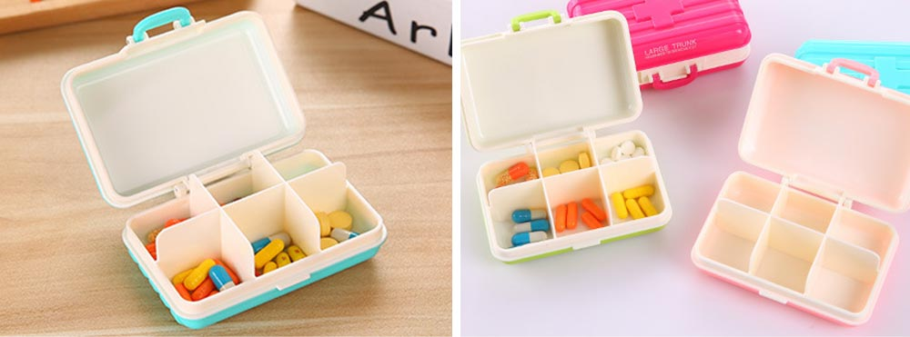 Creative Luggage Modeling Mini Pill Case, Jewelry Storage Box 6 Slots Multifunctional Organizer for Ladies 6