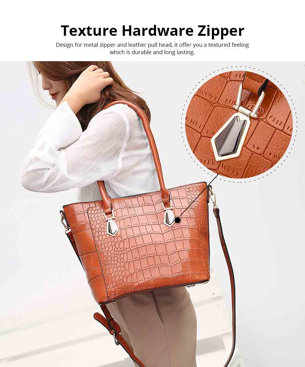 Fashion Wild Simple Shoulder Bag With Smooth Hardware Zipper, Crocodile Elegant Portable Handbag for Ladies 2