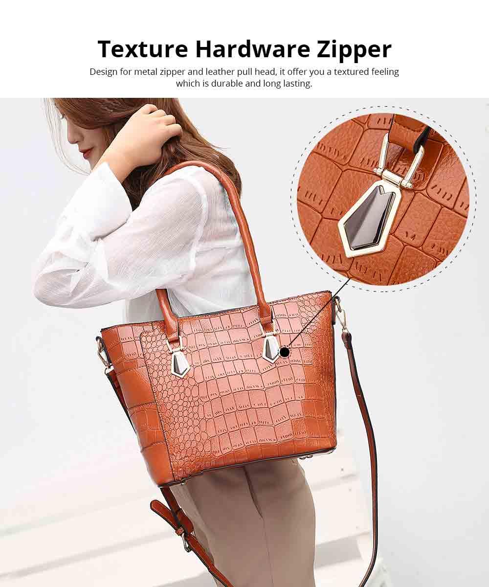Fashion Wild Simple Shoulder Bag With Smooth Hardware Zipper, Crocodile Elegant Portable Handbag for Ladies 8