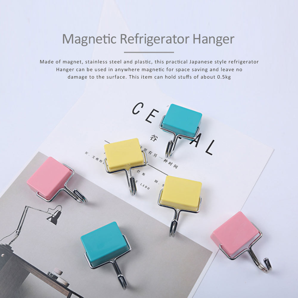 Nail-free Magnetic Hooks With Stickers Set, Japanese Style Powerful Strong Magnetic Hook for Kitchen Refrigerator Hanger 0