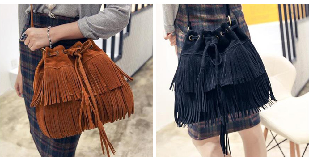 Ladies Bucket Bag Luxury Cross Body Handbags, Women Tassels Single Shoulder Bags Messenger Bags 1