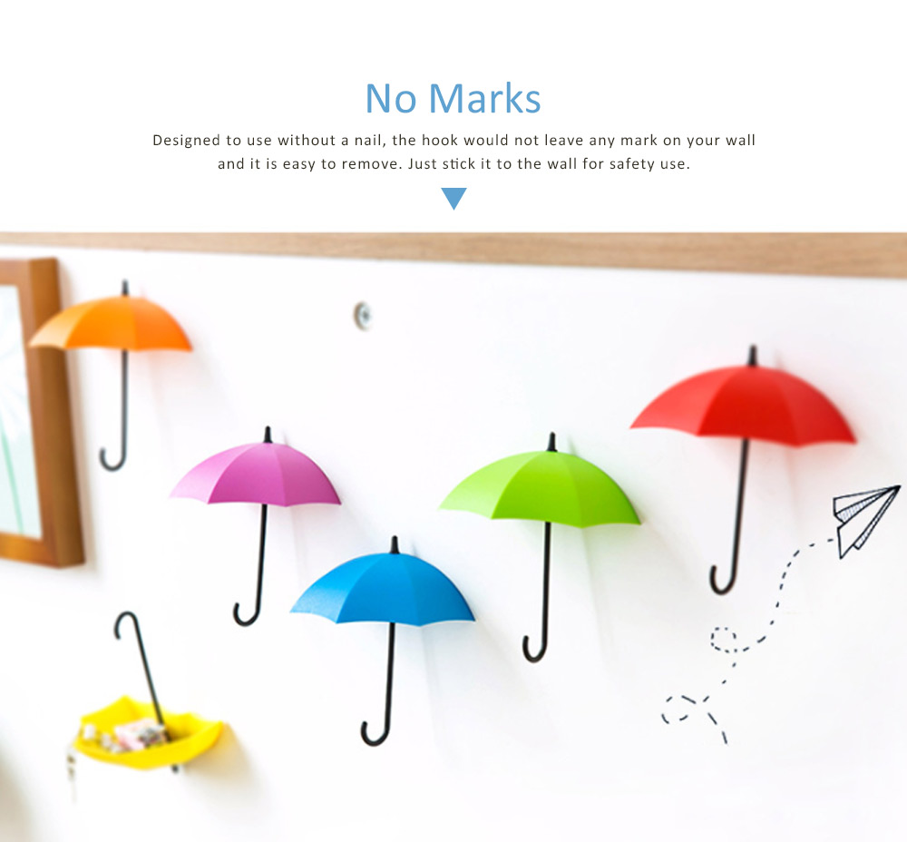 Nail-free Sticky Holder Adhesive Cute Umbrella Shape Wall Hook For Keys, Bags and Clothes, Colourful Lovely Sticky Door Hook 3 PCS 3