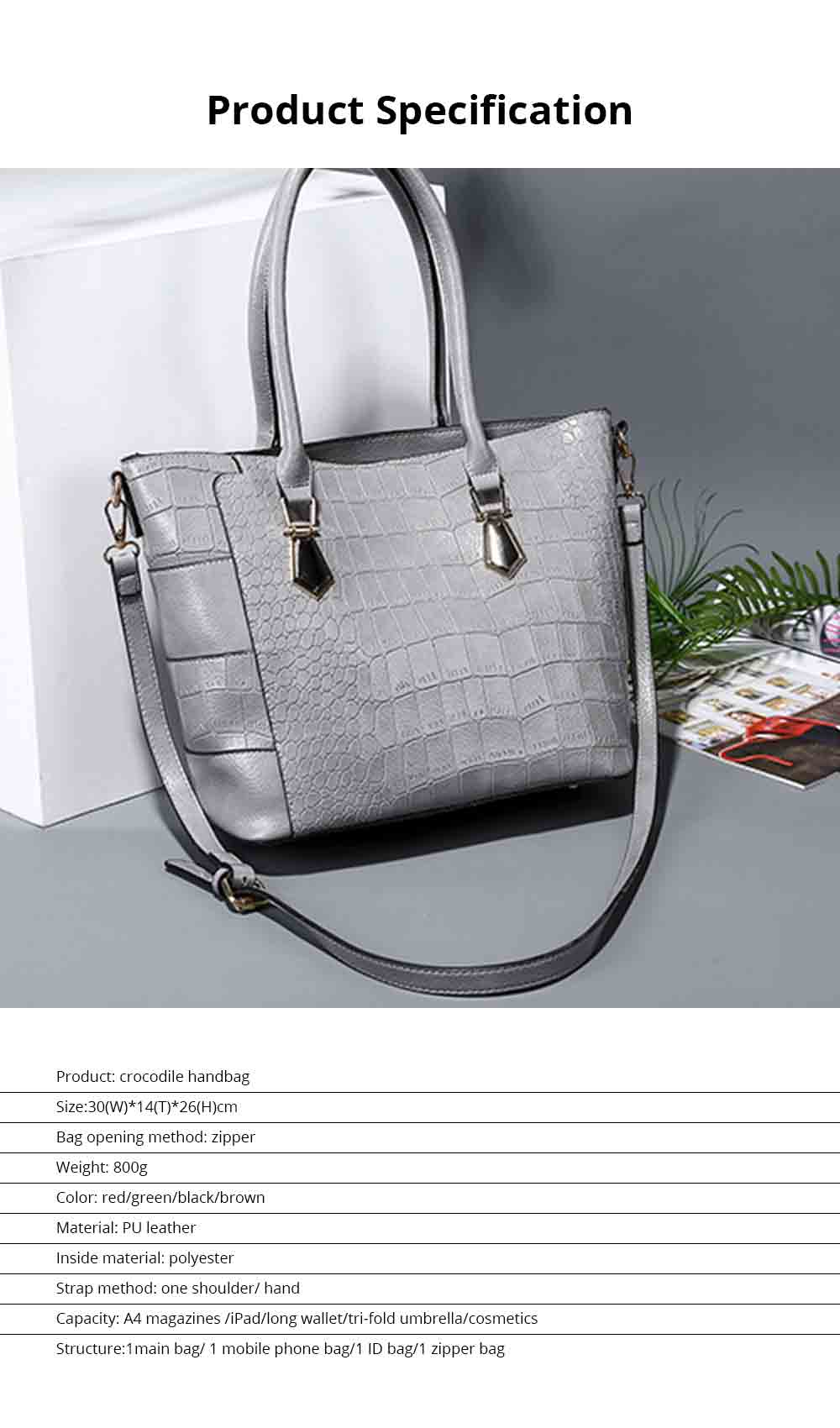 Fashion Wild Simple Shoulder Bag With Smooth Hardware Zipper, Crocodile Elegant Portable Handbag for Ladies 7