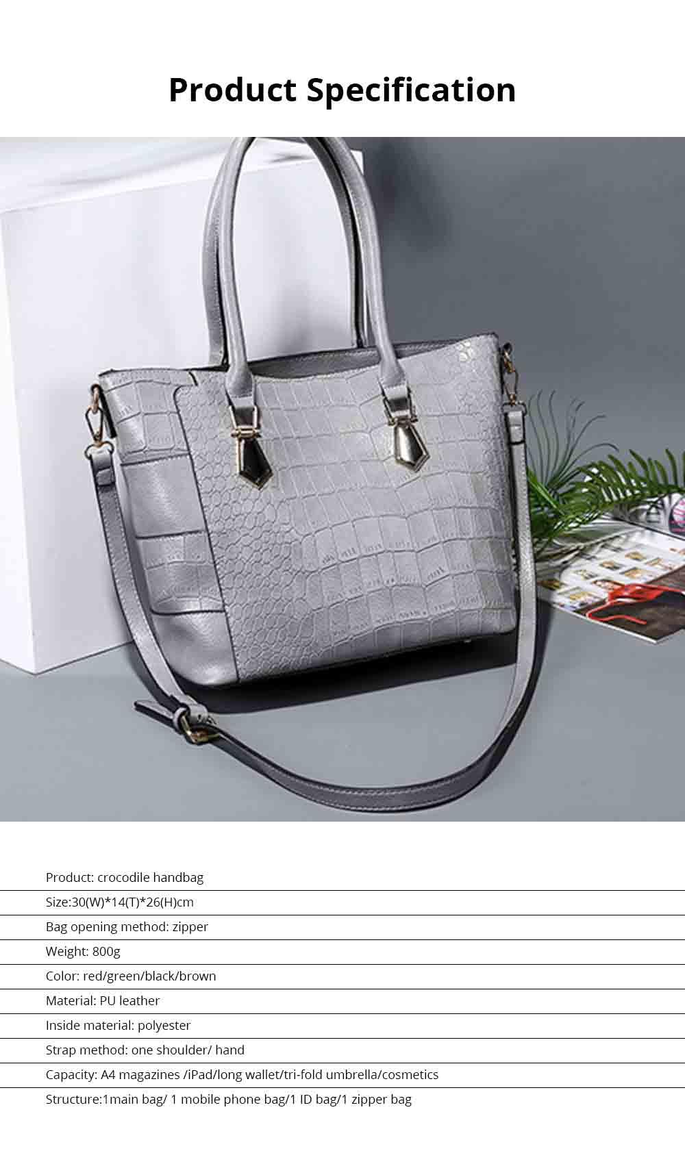 Fashion Wild Simple Shoulder Bag With Smooth Hardware Zipper, Crocodile Elegant Portable Handbag for Ladies 13