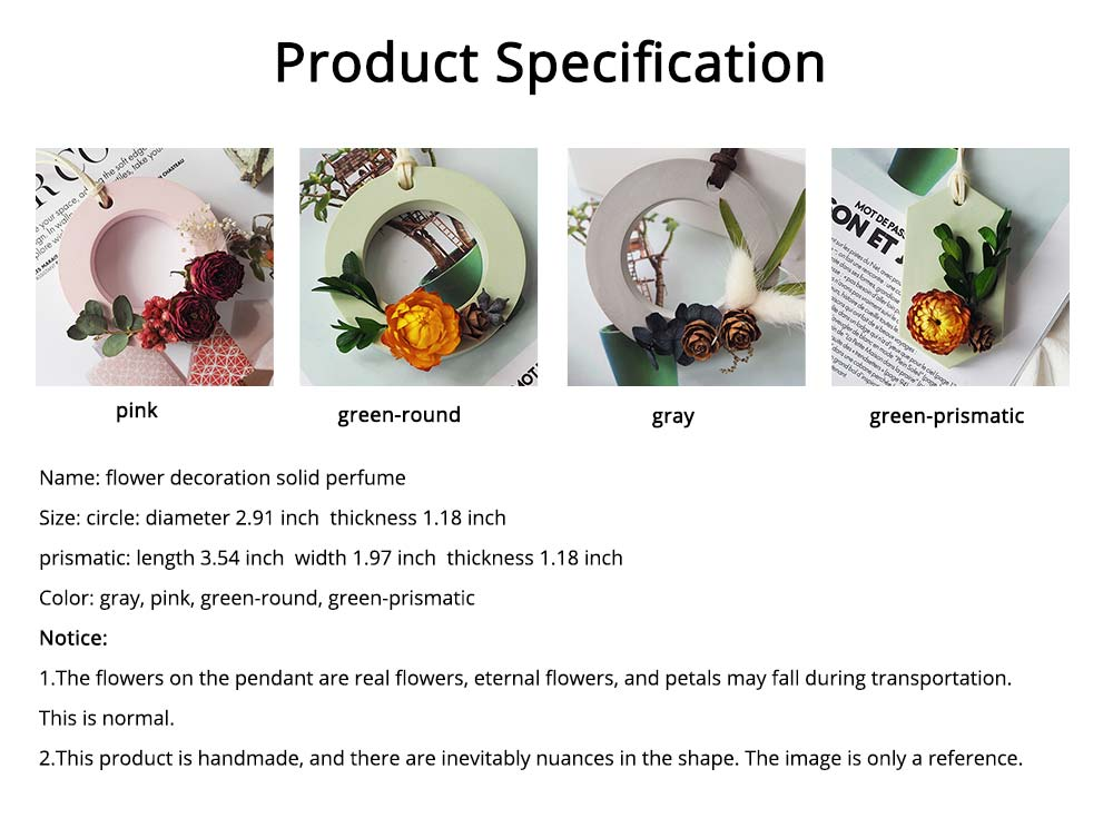 Preserved Fresh Flower Decoration Solid Gypsum Perfume, Car Home Pendant Widget Hand-made Fragrance Diffuser Stone 5