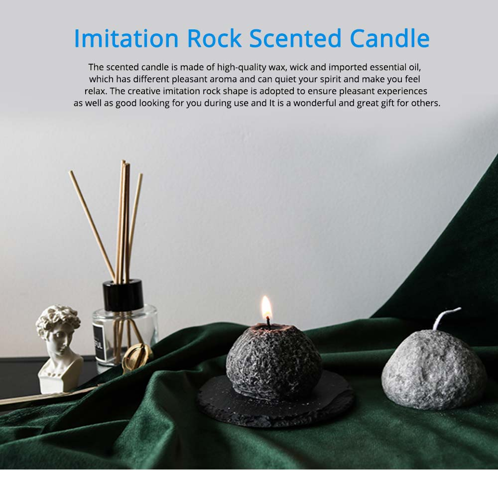 Secure Smokeless Scented Candles, Fresh Floral Fragrance Quiet the Spirit Home Decoration Candle, Creative Imitation Rock Shape 0