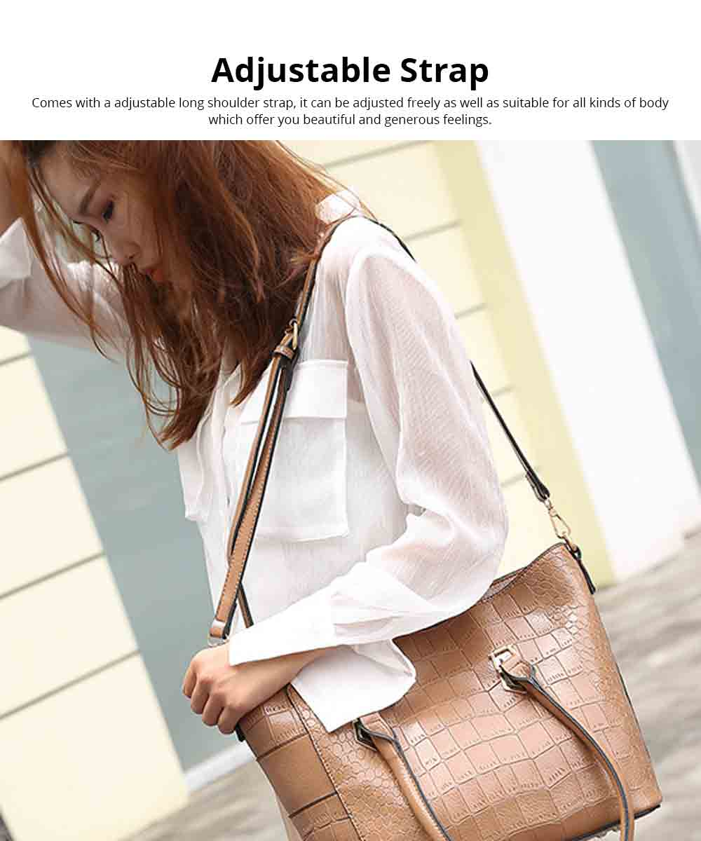 Fashion Wild Simple Shoulder Bag With Smooth Hardware Zipper, Crocodile Elegant Portable Handbag for Ladies 5