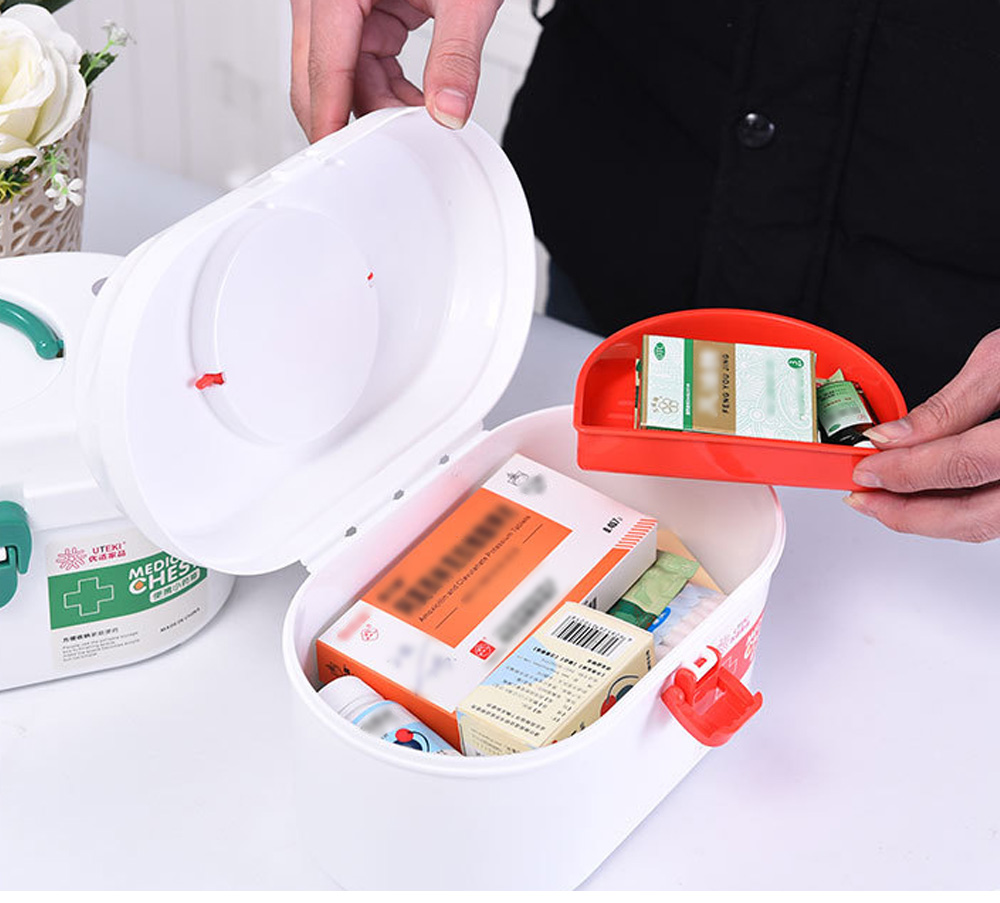 Household Medicine Chest Pill Storage Box, Portable Plastic Emergency First Aid Pill Drug Kit Box 9