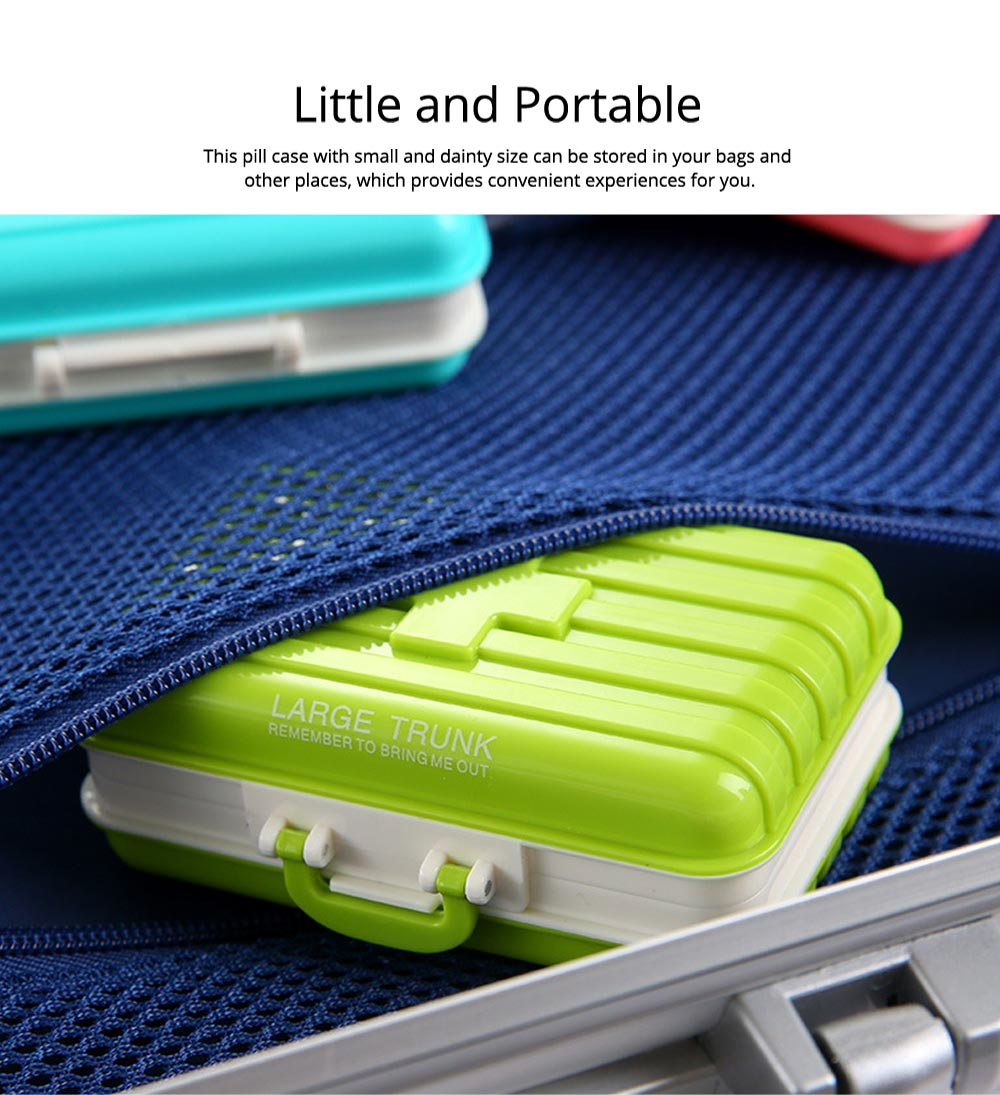 Creative Luggage Modeling Mini Pill Case, Jewelry Storage Box 6 Slots Multifunctional Organizer for Ladies 4
