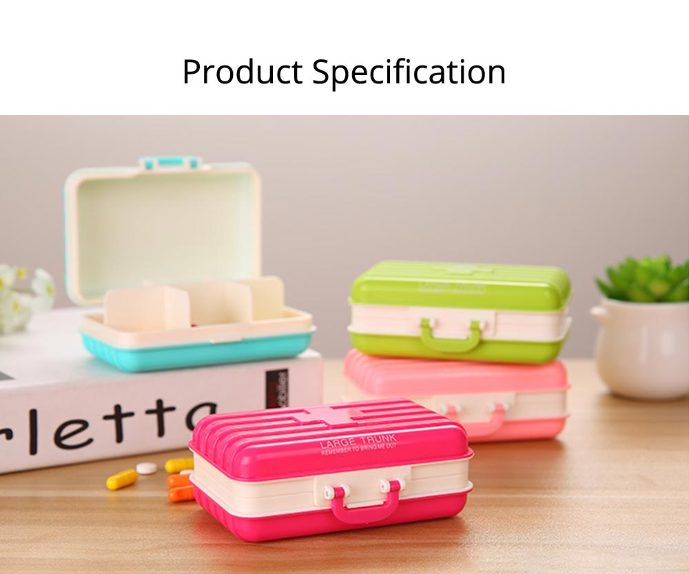 Creative Luggage Modeling Mini Pill Case, Jewelry Storage Box 6 Slots Multifunctional Organizer for Ladies 10