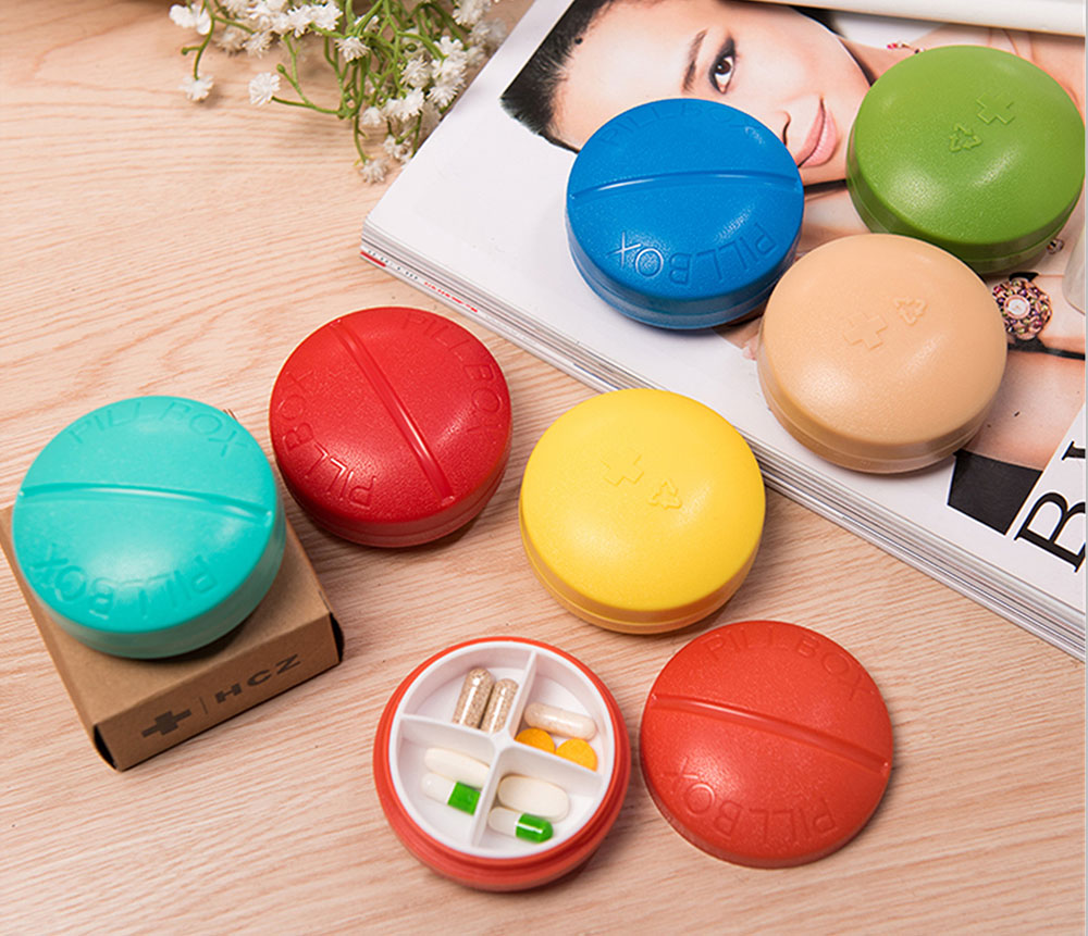Portable Medicine Drug Jewelry Storage Box, Colorful Pills Modeling Organizer Medical Mini Pill Case, 4 Slots 13