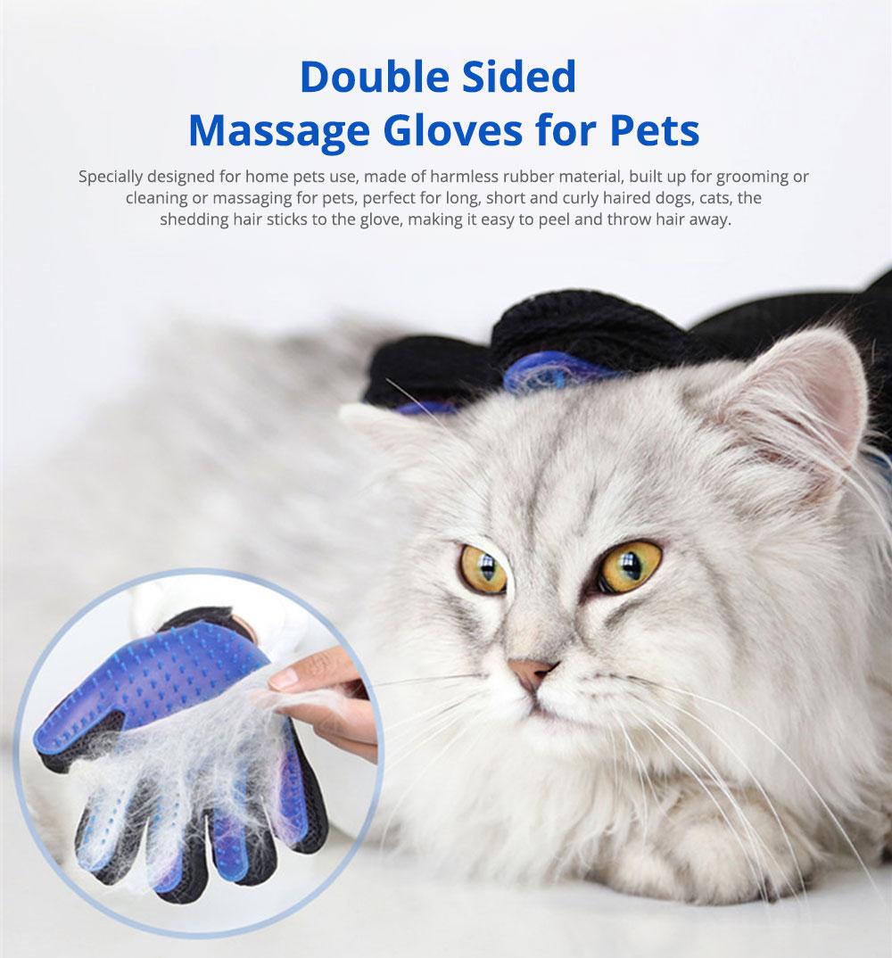 Pet Massage Gloves, Professional Dog Bath Shower Brush Massage Gloves, Double-Sided 0