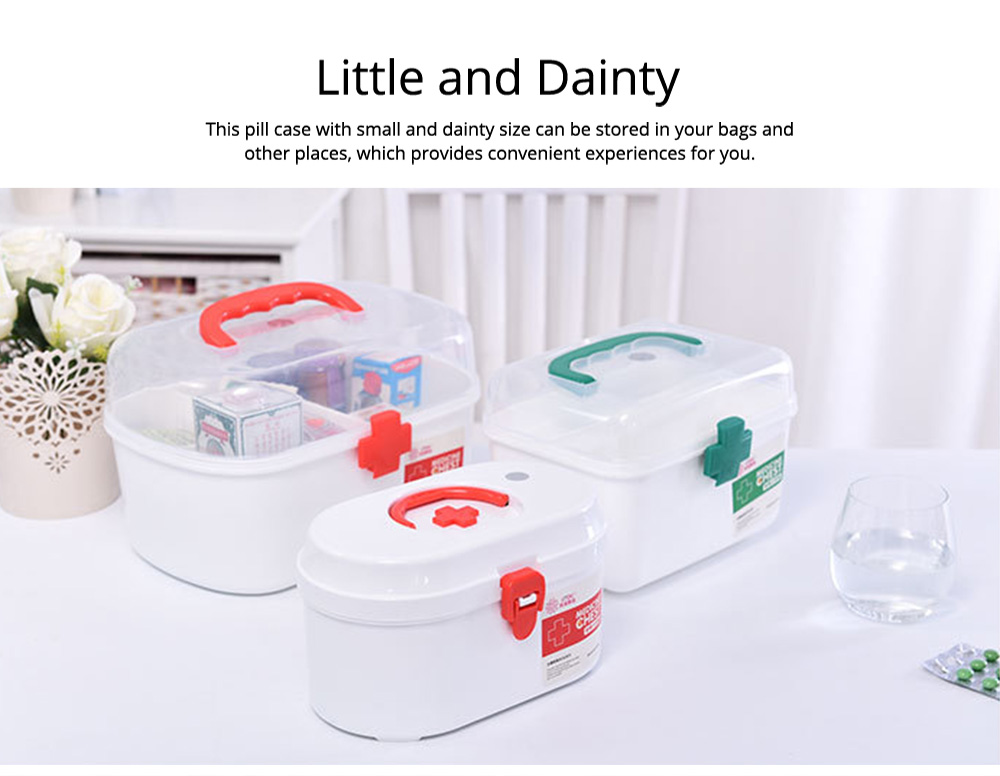 Household Medicine Chest Pill Storage Box, Portable Plastic Emergency First Aid Pill Drug Kit Box 5