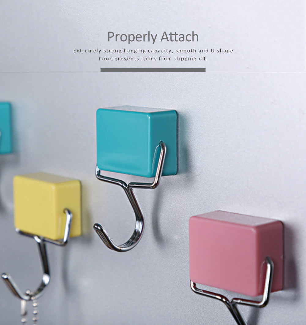 Nail-free Magnetic Hooks With Stickers Set, Japanese Style Powerful Strong Magnetic Hook for Kitchen Refrigerator Hanger 2