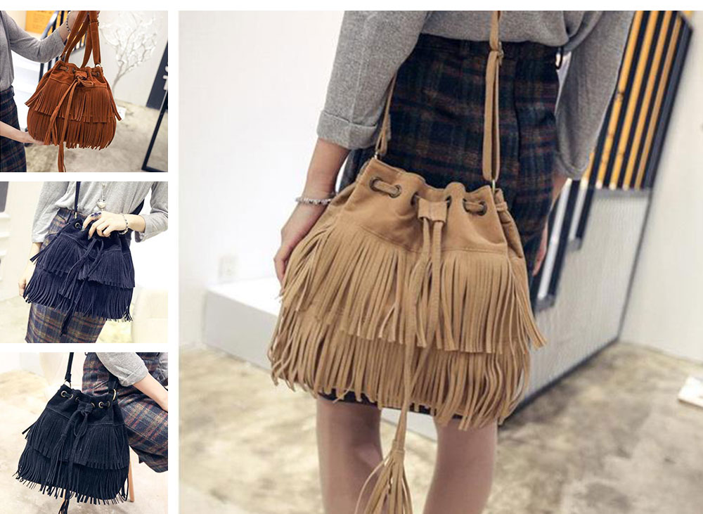 Ladies Bucket Bag Luxury Cross Body Handbags, Women Tassels Single Shoulder Bags Messenger Bags 10