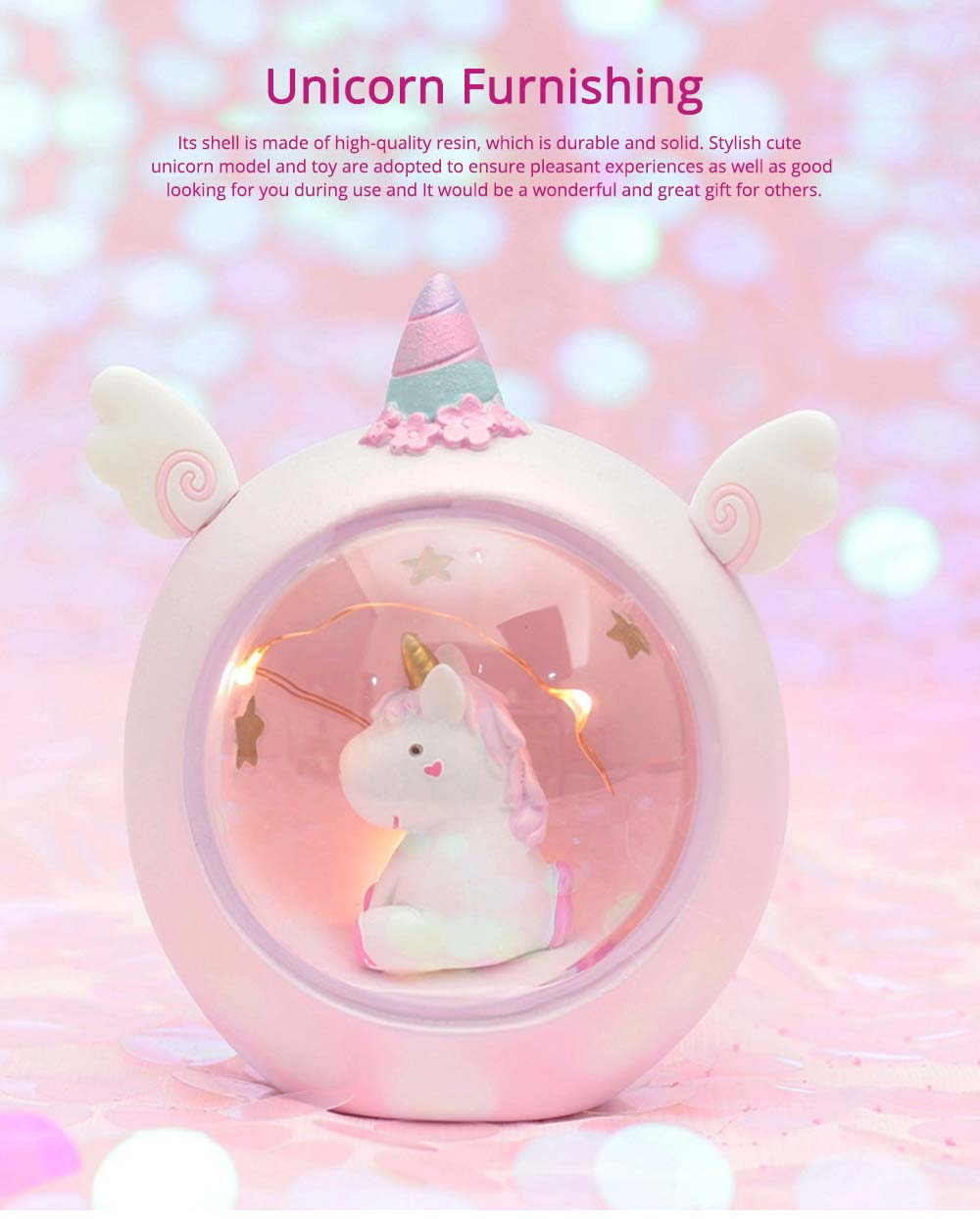 Creative Cute Unicorn Furnishings Home Decor, Durable Resin Shell New Year Birthday Present for Friends Ladies 8