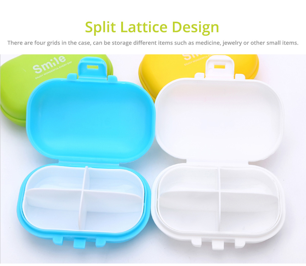 Large 4 Times A Day Pill Organizer, Dustproof 4 Grids Tablet Pills Portable Storage Case 3