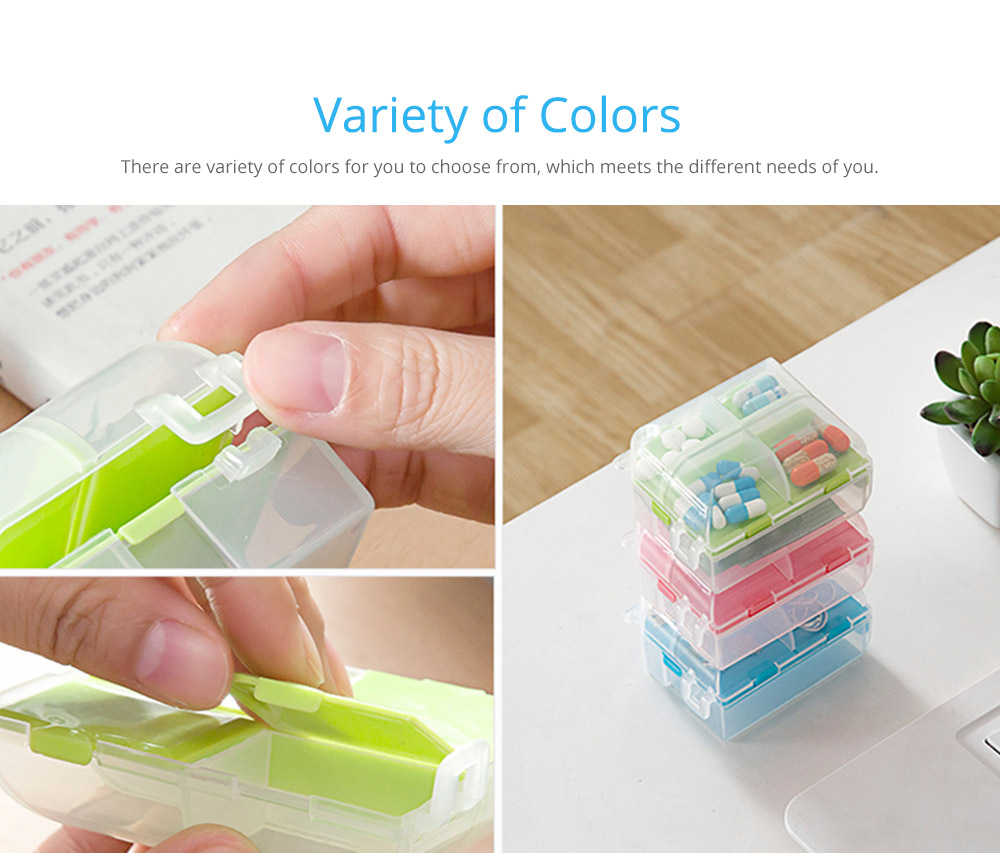 Double-Sided Pill Box Portable Separate Compartments Organizer Medicine Drug Storage Container Box 8