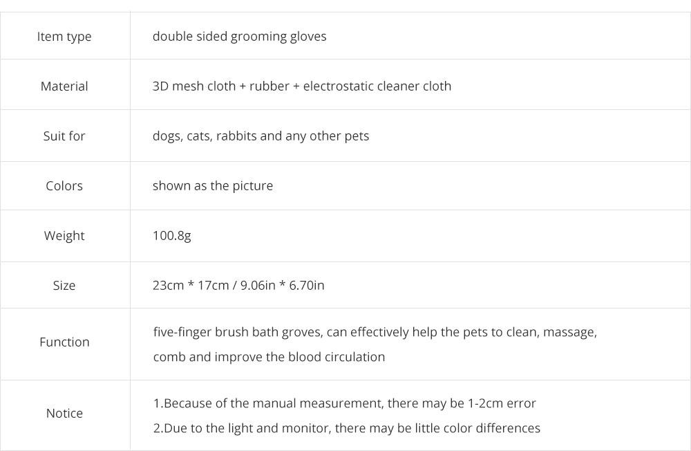 Pet Massage Gloves, Professional Dog Bath Shower Brush Massage Gloves, Double-Sided 10