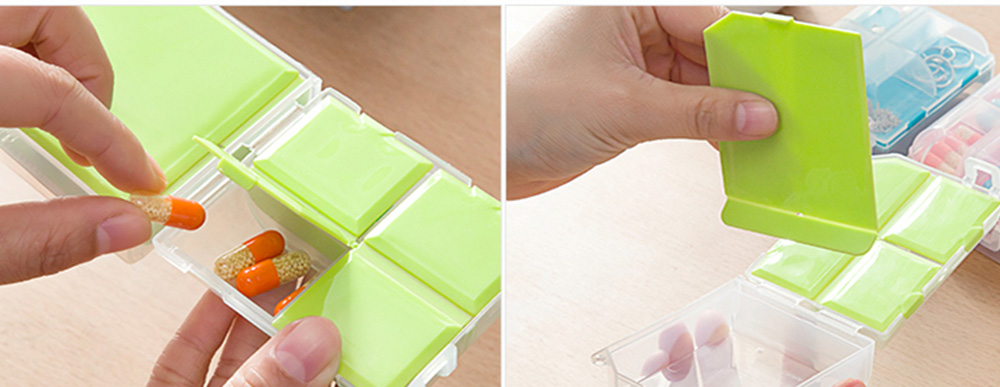 Double-Sided Pill Box Portable Separate Compartments Organizer Medicine Drug Storage Container Box 6