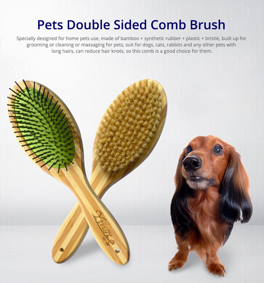Pet Comb Dog Grooming Brush for Bath and Massage, Professional Double Sided Pin & Bristle Bamboo Brush for Dogs & Cats 0