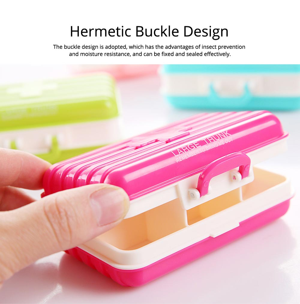 Creative Luggage Modeling Mini Pill Case, Jewelry Storage Box 6 Slots Multifunctional Organizer for Ladies 3