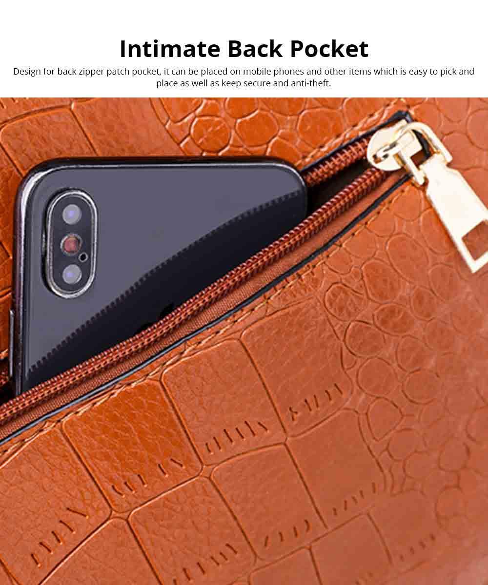 Fashion Wild Simple Shoulder Bag With Smooth Hardware Zipper, Crocodile Elegant Portable Handbag for Ladies 10