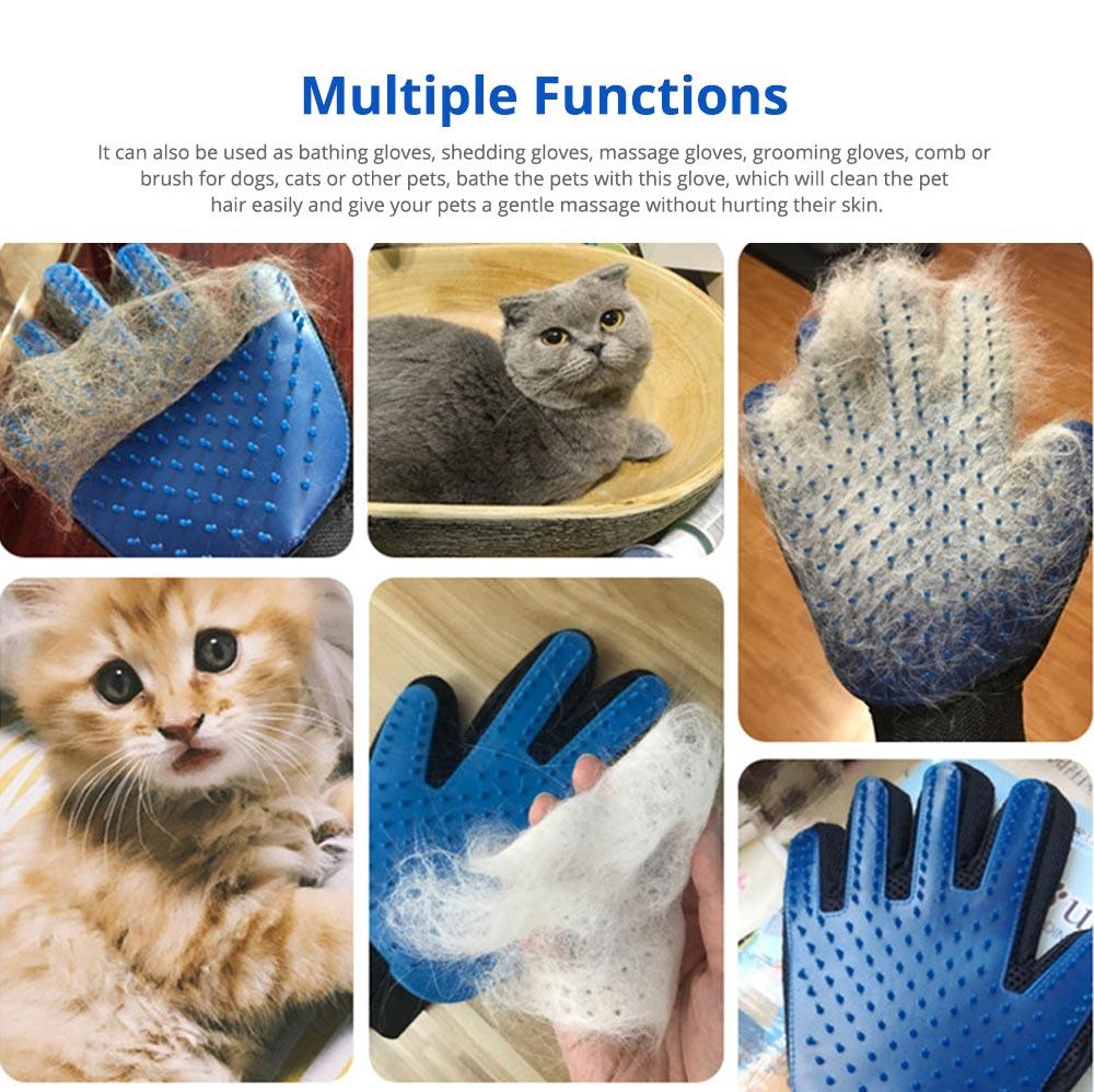 Pet Massage Gloves, Professional Dog Bath Shower Brush Massage Gloves, Double-Sided 7